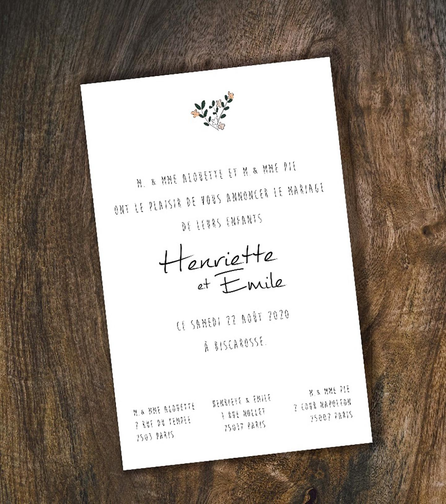 Exemple faire-part mariage traditionnel