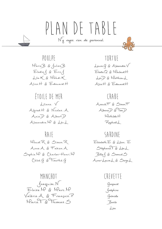Faire part mariage - Plan de table
