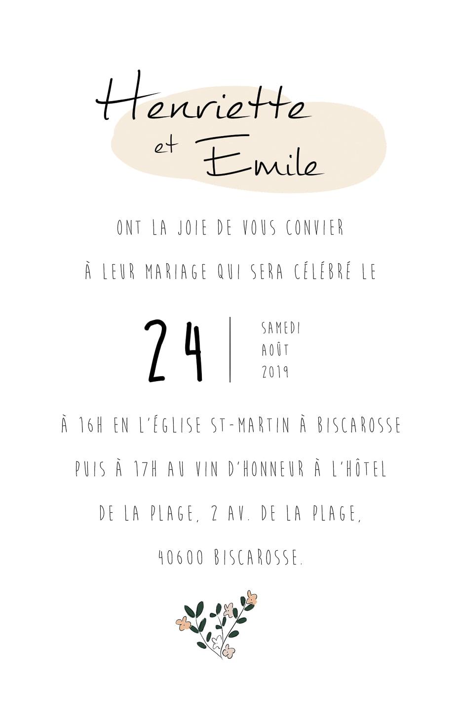 Faire-part - Verso Annonce du mariage | Format au choix (Mini, Medium, Grandiose ou Numérique)