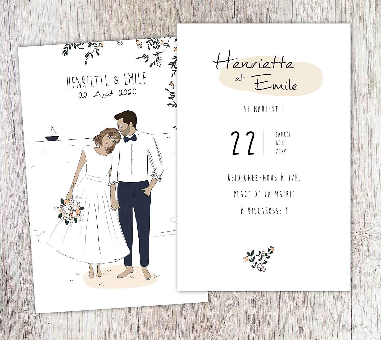 Texte invitation mariage minimaliste