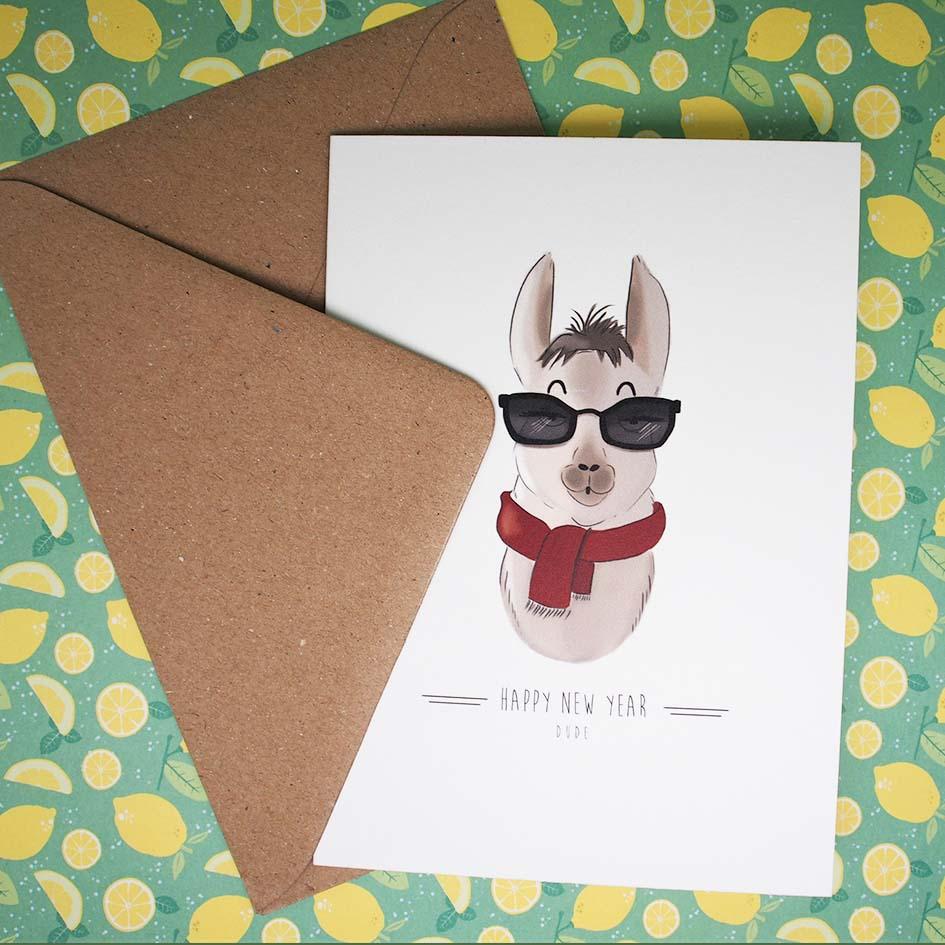 Carte lama bonne année avec enveloppe
