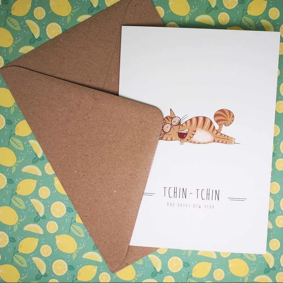 Carte tchin-tchin avec enveloppe