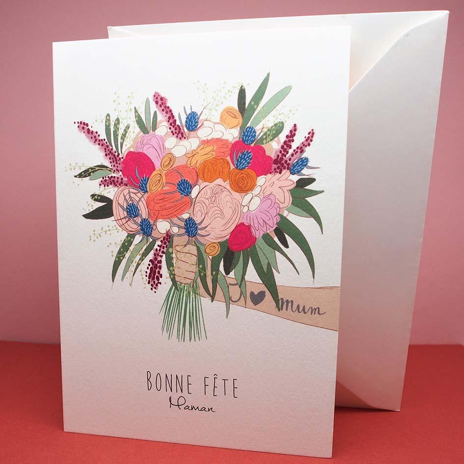 carte bonne fête maman avec enveloppe