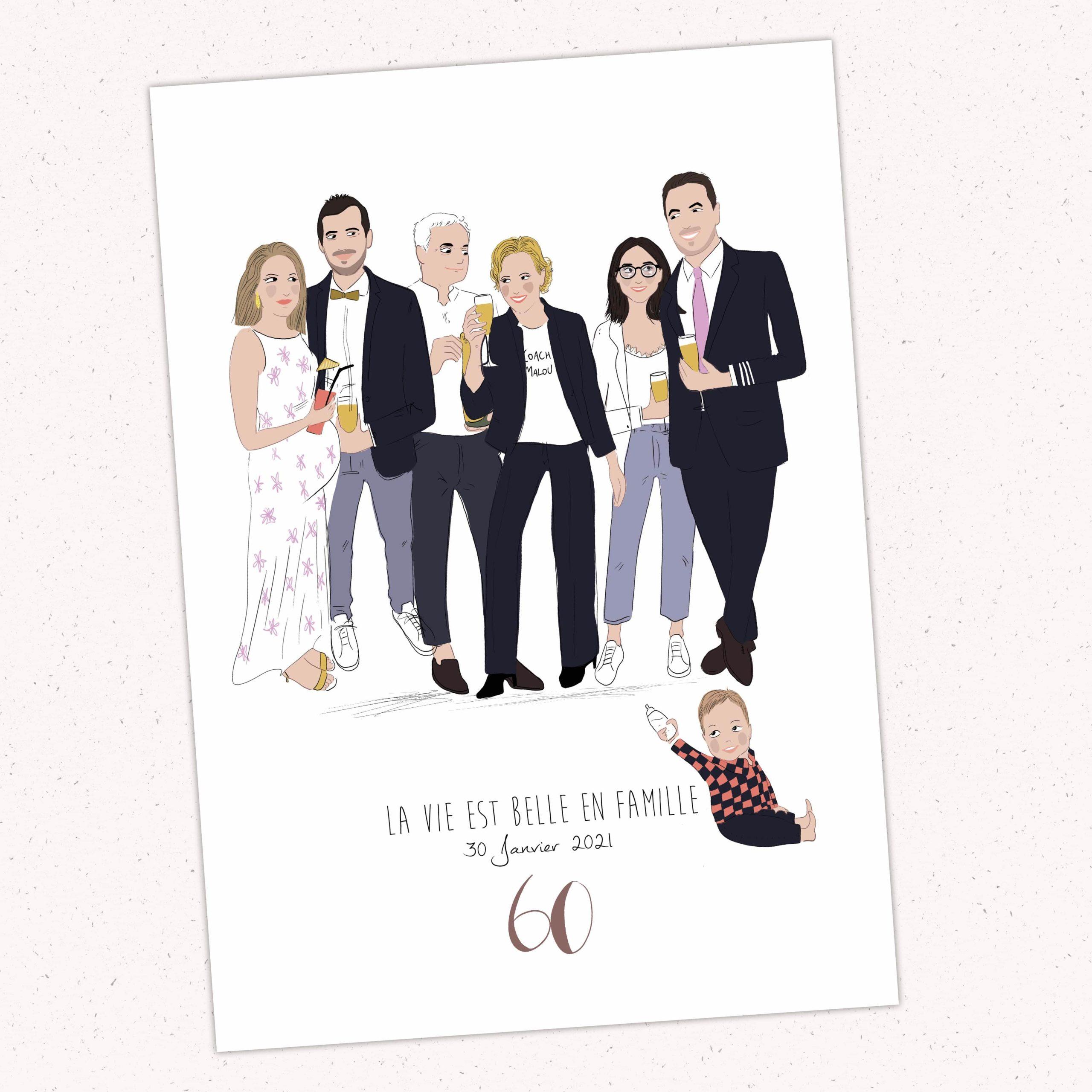 Portrait de famille en dessin